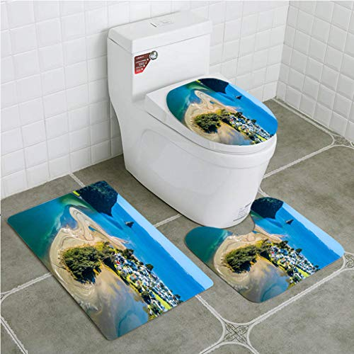 Bathroom Mat Sets 4 Piece-Non-Slip - Short Plush Aerial View on a River Mouth with Residential Suburb on The Shore and Ocean with Bathroom Rug + Contour pad + lid Toilet seat+Toilet seat Cushion