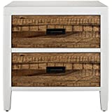 Modus Furniture 9WF481 Montana Two-Drawer Nightstand, White Lacquer and Natural Sengon