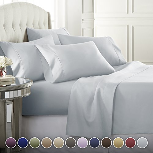 6 Piece Hotel Luxury Soft 1800 Series Premium Bed Sheets Set, Deep Pockets, Hypoallergenic, Wrinkle & Fade Resistant Bedding Set(King, Ice (Discount King Size Beds)