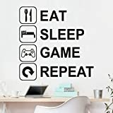 Euone Wall Sticker, Eat Sleep Game Repeat Art Vinyl Mural Home Wall Stickers (C)