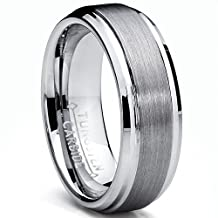 Metal Masters Co.® 7MM High Polish / Matte Finish Men's Tungsten Ring Wedding Band Sizes 5 to 15