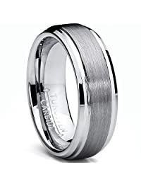 Metal Masters Co.® 7MM High Polish / Matte Finish Men's Tungsten Ring Wedding Band Sizes 5 to 15