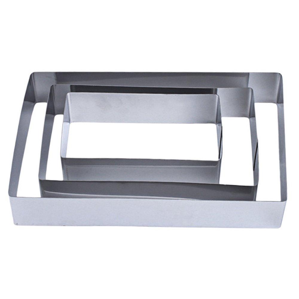 TAMUME Stainless Steel Rectangle-Shape Baking Molds Set of 3 Cake Rings (Rectangular)
