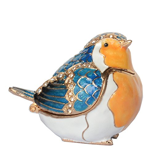 Enameled Pewter Crystal Bejeweled Robin Bird Trinket & Jewellry Box for - Crystal Enameled