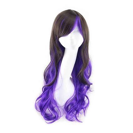 Babysbreath Peluca multicolor del arco iris Peluca ondulada ondulada larga larga del pelo Cosplay de las