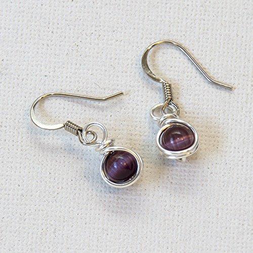 Purple Casual Earrings (Small Purple Drop Earrings - Handmade Wire Wrap Jewelry)