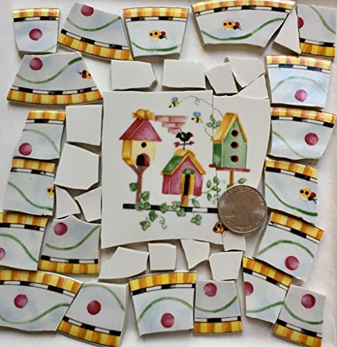 Wall Coventry Small (Broken China Mosaic Tile Art Supply for Crafts ~ Coventry Pentelopes Garden Birdhouse & Solid White Tiles (T#A056))