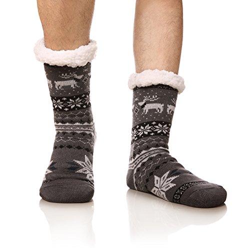 DoSmart Men's Winter Thermal Fleece Lining Knit Slipper Socks Christmas Non Slip Socks(Dark Grey) (Fleece Sock)
