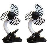 DreamBaby Clip-on Stroller Fan 2 Pack - Zebra