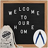 Letter Board - 10'' x 10'' Black Felt Letter Board with 340 Letters, Changeable Letter Board Oak Wood Frame with Mounting Hook Canvas Bag Scissors VAG021