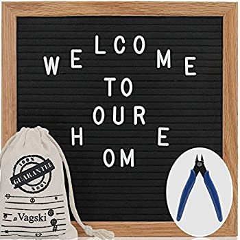Letter Board - 10 x 10 Black Felt Letter Board with 340 Letters, Changeable Letter Board Oak Wood Frame with Mounting Hook Canvas Bag Scissors VAG021