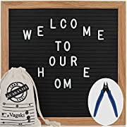 Letter Board - 10'' x 10'' Black Felt Letter Board with 340 Letters, Changeable Letter Board Oak Wood Frame with Mounting Hook and Canvas Bag VAG021