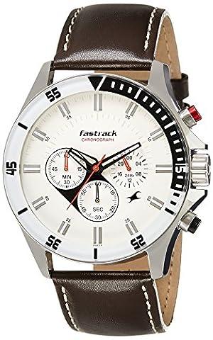 Fastrack Men's 3072SL01 Casual - Chronograph - White Dial Brown Leather Strap Watch - Chronograph White Dial