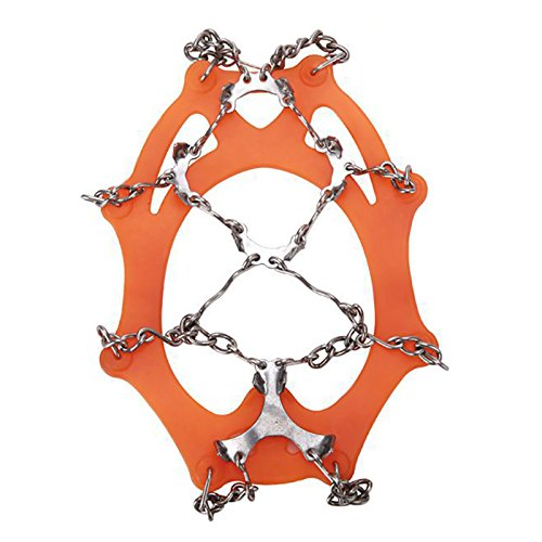 Outdoor Welded Steel Chain with 12-Stud Non-slip Footwear Spikes Slip-on Stretch Crampons by YTQ