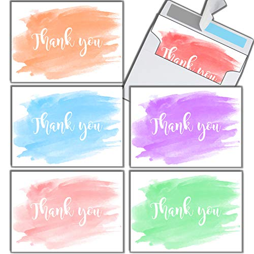 (Watercolor Thank You Cards 36-Pack | Premium Thicker Cardstock Thank-You Notes With Beautiful Self-Sealing Envelopes | Pre-Folded 4.5