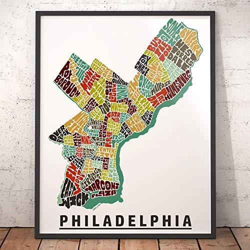(Philadelphia Neighborhood Map Print, signed print of my original hand drawn Philadelphia typography map art )