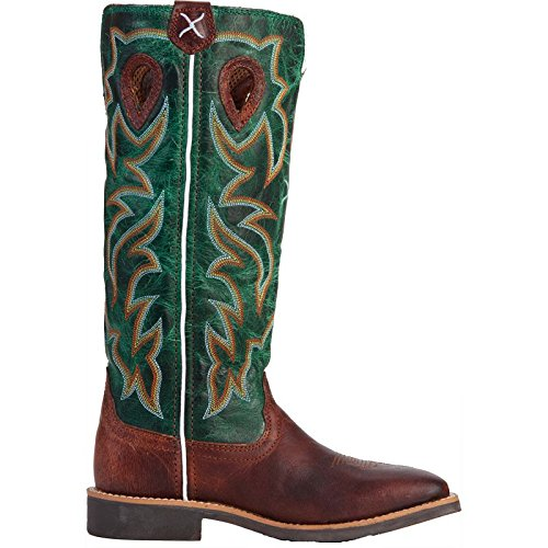 Twisted X Boys' Turquoise Buckaroo Cowboy Boot Square Toe Cognac 5.5 D(M) US