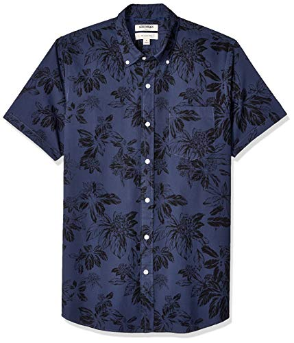 - Goodthreads Men's Slim-Fit Short-Sleeve Printed Poplin Shirt, Navy Large Floral, Medium Tall
