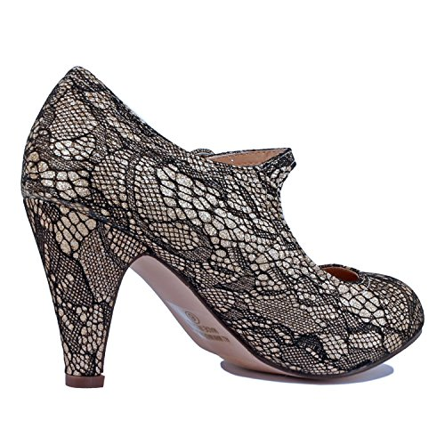 Chase & Chloe Kimmy-21 Women's Round Toe Pierced Mid Heel Mary Jane Style Dress Pumps (6 B(M) US, Silver Glitter)