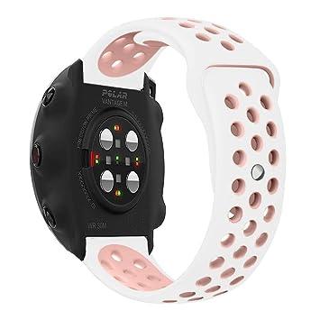 Ceston Deporte Silicona Clásico Correas para Smartwatch Polar Vantage M (Rosa + Blanco)