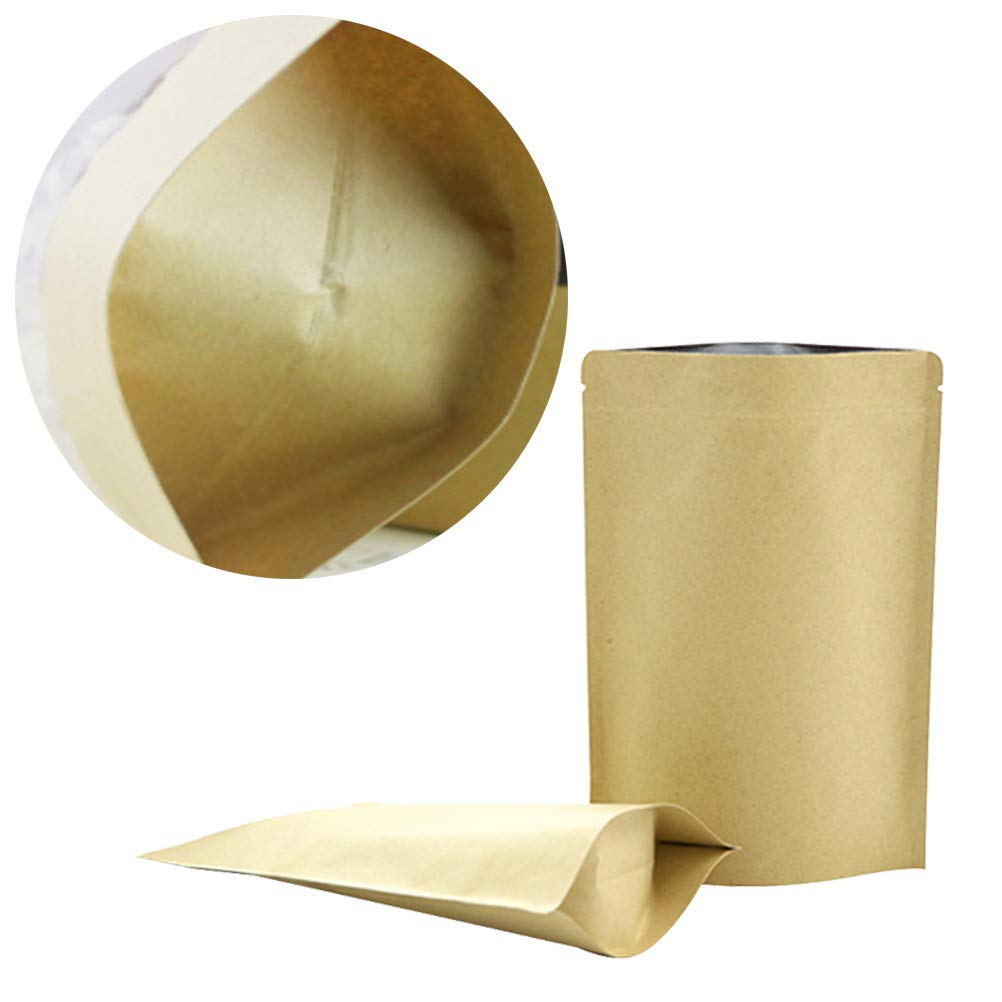 50 bolsas de papel kraft de aluminio color marr/ón con cierre de ziplock repelente para almacenamiento de alimentos 8CM x 11CM N