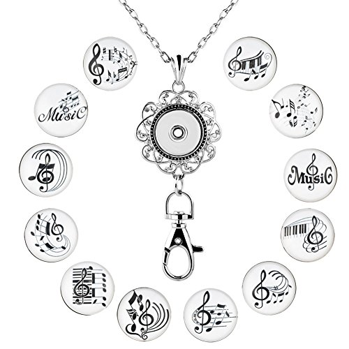 Chain Silver Charms (Mel Crouch Office Lanyard ID Badges Holder Necklaces Keychain with Anchor Charms Music Snap Button Charms Jewelry (music note))