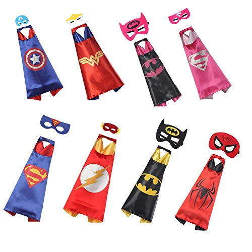 RANAVY Hero Capes and Masks Bulk Set Dress Up for Kids Superhero Party Birthday Party Costumes (8 PCS(27
