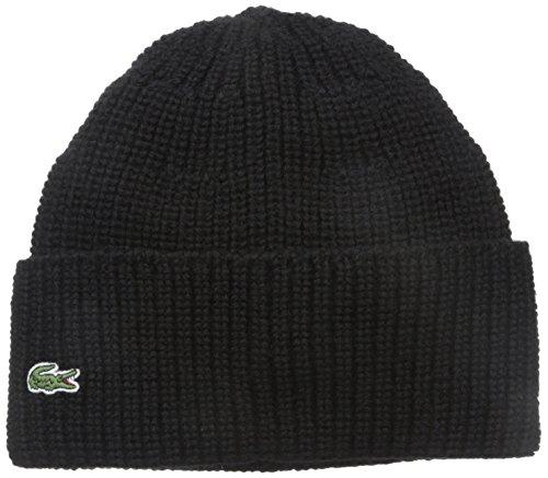 Lacoste Men's Classic Pure Wool Cardigan Rib Knit Cap, Black/Black, One Size