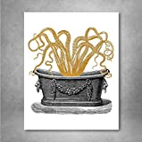 Gold Foil Art Print - Gold Octopus In The Tub Print Design 8x10 inches