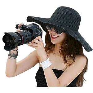 New Large Brimmed Garden Beach Big Summer Sun Hat for Womens Black
