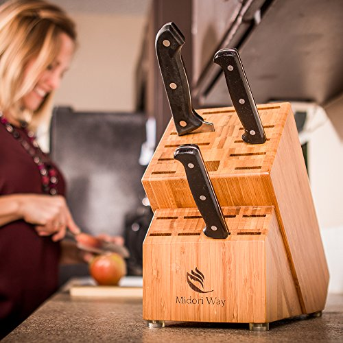 Bamboo Knife Block (Without Knives), Best For Storage Of Your Quality Cutlery. Stylish and Eco-Friendly, This Beautiful & Professional Wooden Block Will Be A Great Kitchen Addition. By Midori Way by Midori Way (Image #2)