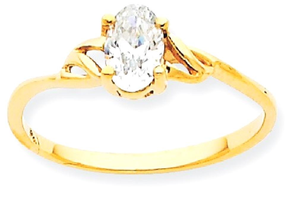 ICE CARATS 10k Yellow Gold White Topaz Birthstone Band Ring Size 7.00 Stone April Oval Style Fine Jewelry Gift Set For Women Heart