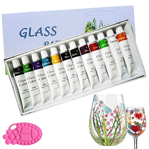 Magicdo Stained Glass Paint with Palette,Transparent Glass Window Color Paint Set Great for Wine Bottle, Light Bulbs, Ceramic (12 Colorsx0.4 Fl oz) (Type Of Paint To Use On Wine Glasses)