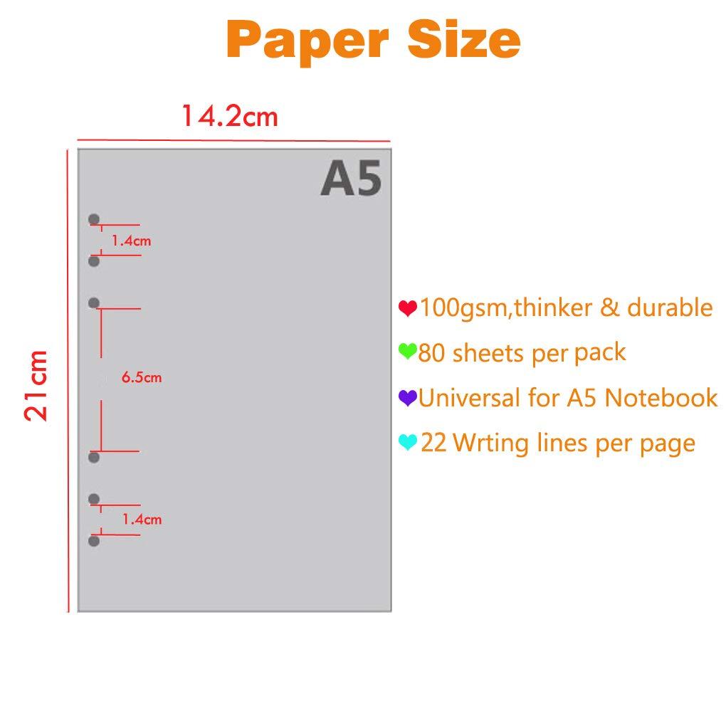 SAYEEC Carpeta de aros A5 de piel sintética con cremallera alrededor y con hojas de papel sueltas con renglones Carpeta de conferencias Carpeta de viaje ...