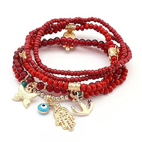 Katie's Style Boho Stackable Stretch Bracelets 4 pc Set Multi Charm Butterfly Claddagh Amulet (Butterfly Charm 4 Jewelry Bracelets)
