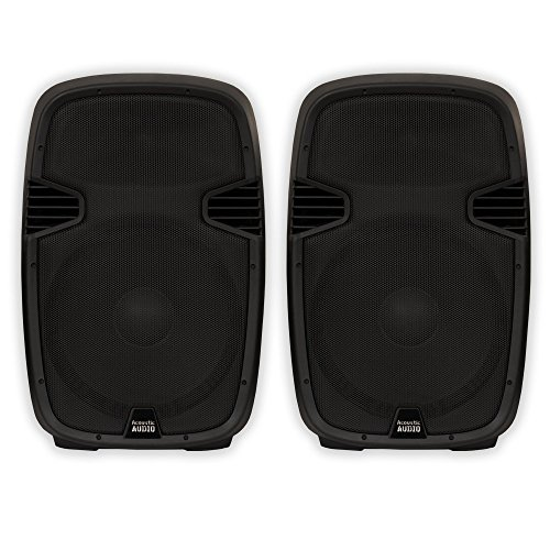 Acoustic Audio AA152U Powered 15'' Speaker Pair 1800 Watts 2 Way USB MP3 Players AA152U-PR by Acoustic Audio by Goldwood