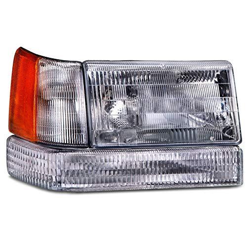 HEADLIGHTSDEPOT Compatible with Jeep Grand Cherokee New Passenger 3-Piece Headlight Set w/Signal and Corner -
