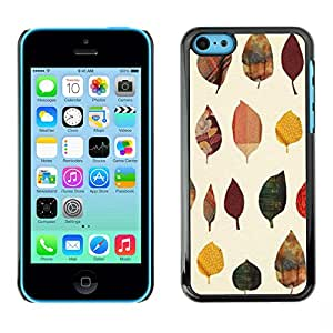 X-ray Impreso colorido protector duro espalda Funda piel de Shell para Apple iPhone 5C - Leaves Poly Art Minimalist