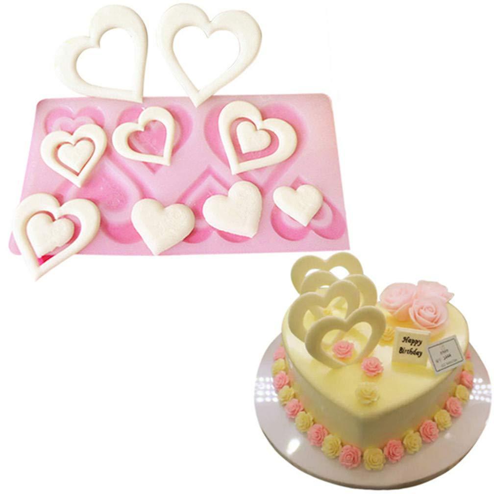 LJSLYJ Valentinstag Geschenk Herz Silikonform Kuchen Dekorieren Tools Schokoladenform