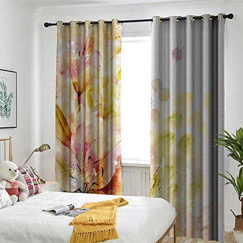 TRTK Bedroom Curtains Insulated Blackout Curtain Shabby Chic,Watercolored Lilies Flowers Buds Leaves Colored Marks Artwork,Cream Light Pink and Peach -