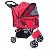 MDOG2 MK0034 4-Wheel Front and Rear Entry Pet Stroller, Red