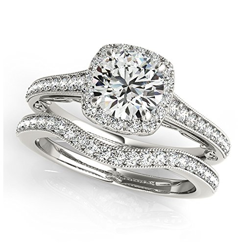 14K White Gold Unique Wedding Diamond Bridal Set Style MT50854