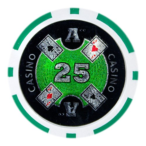 - Brybelly Ace Casino Poker Chip Heavyweight 14-gram Clay Composite – Pack of 50 ($25 Green)