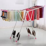 DGF Clothes Rack, Floor Folding Indoor Drying Rack, Simple Stainless Steel Clothes Hanger (L136cm W42cm H130cm) ( Color : B )