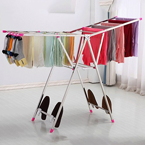 DGF Clothes Rack, Floor Folding Indoor Drying Rack, Simple Stainless Steel Clothes Hanger (L136cm W42cm H130cm) ( Color : B ) by Great St.