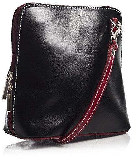 Big Handbag Shop Womens Mini Genuine Leather Cross Body Bag (Black - Red - Hb Shoes Italian