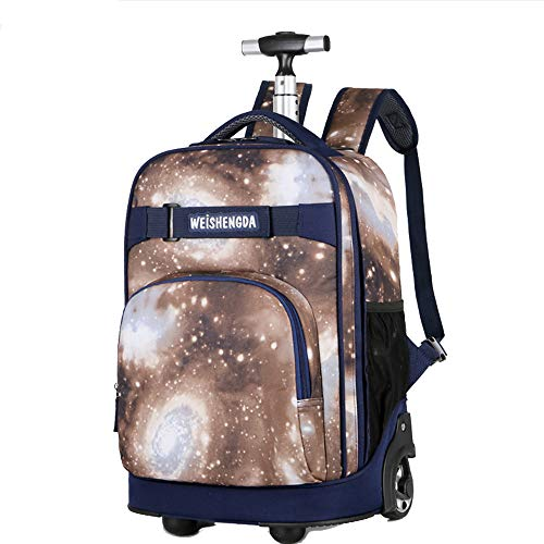 18 inch Rolling Backpack Carry-on Luggage Rolling Suitcase Wheeled Case Suitcase/School Bag/Laptop/Travel/Business Trolley Luggage for Students Adult Compartment Duffel Bag (brown starry sky)