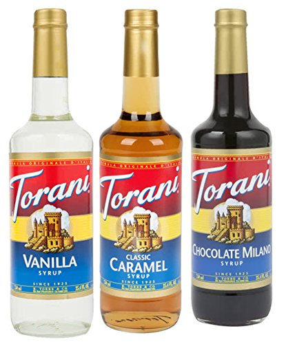 Torani Syrup Coffee Variety Pack - Vanilla, Caramel Classic, Chocolate Milano, 3-count, 25.4-ounce Bottles