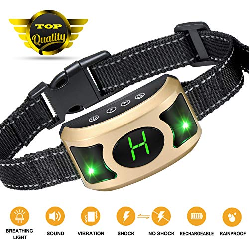 GYM Bark Collar with Breathing Light - Dog Bark Collar with Beep, Vibration & Harmless Shock, Humane No Bark Collar for Small Dogs/Medium Dogs/Large Dogs by GYM