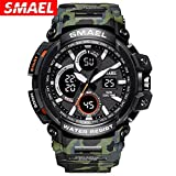 Psalmtrading SMAEL multi-function men's/women's Sports Analog Quartz Dual Display Waterproof Watches LED Backlight 1708 camouflage (army green)